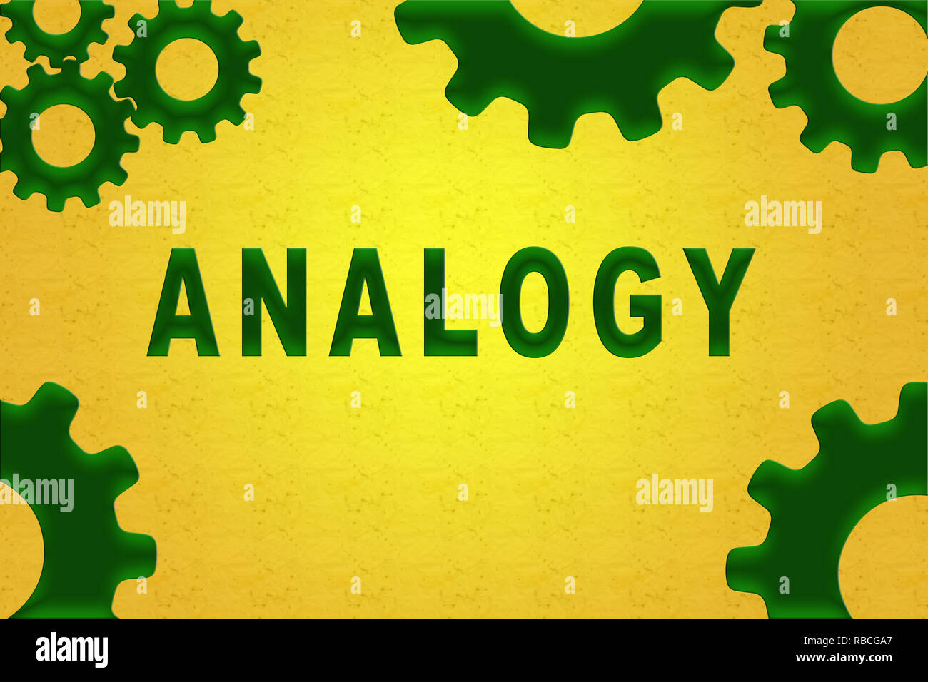 ANALOGY sign concept illustration with green gear wheel figures on yellow background - Stock Image