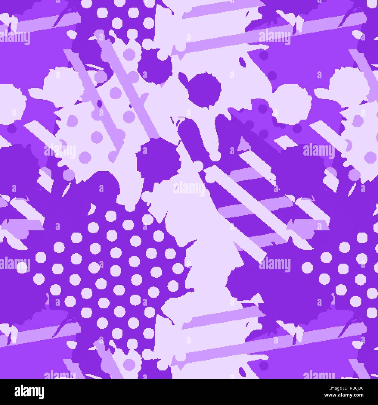 Seamless print texture with liquid and geometric shapes of proton purple color