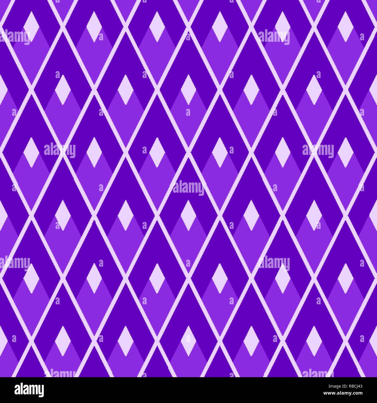 Purple seamless geometric pattern grid made of lozenges - Stock Vector