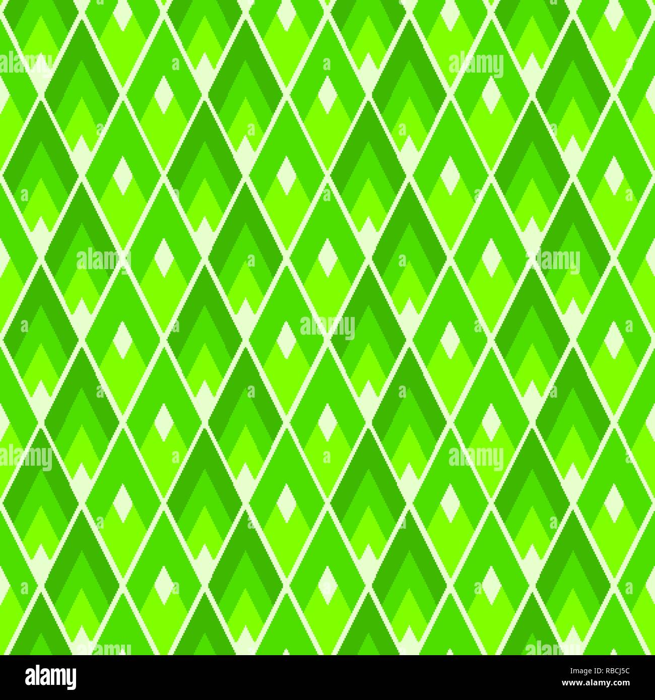 Lozenges seamless pattern. Modern UFO green colored geometric tile texture - Stock Vector
