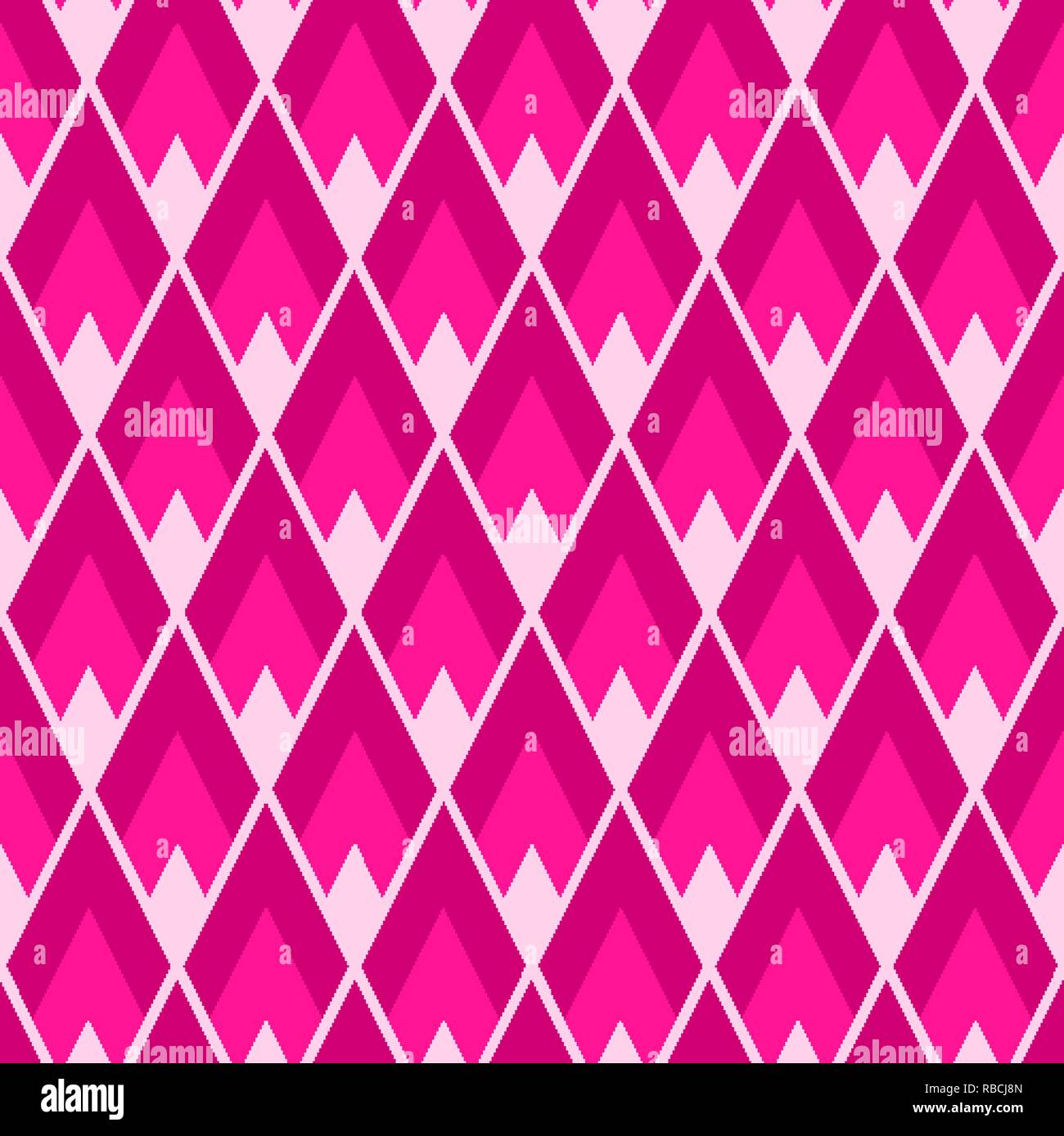Rhombus seamless pattern. Plastic pink lozenges tile repeat - Stock Vector