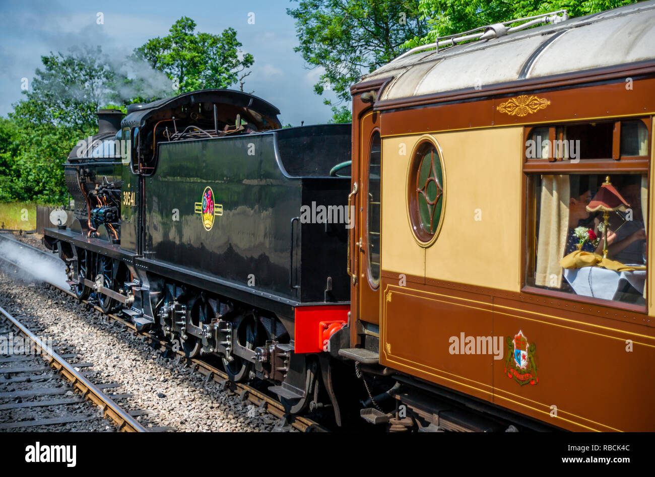 British Railways 30541 pulling Pullman coaches out of Sheffield Park station - Stock Image
