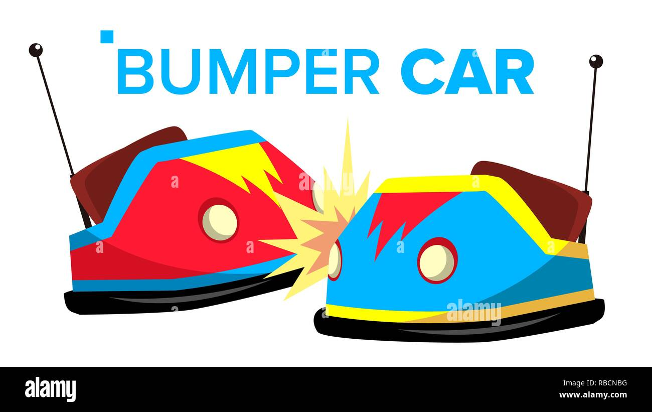 Bumper Car Vector. Attraction Hotroad Amusement Park. Bumps. Isolated Flat Cartoon Illustration - Stock Vector