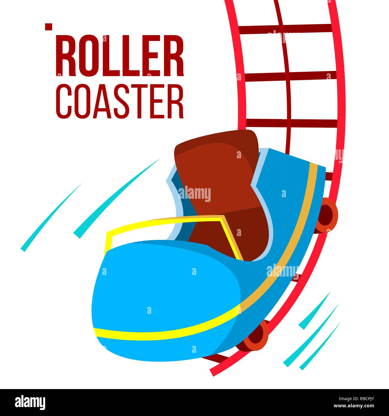Roller Coaster Vector. Fast Ride. Mountians. Amusement Park. Fast Speed, Drive. Isolated Flat Cartoon Illustration - Stock Vector