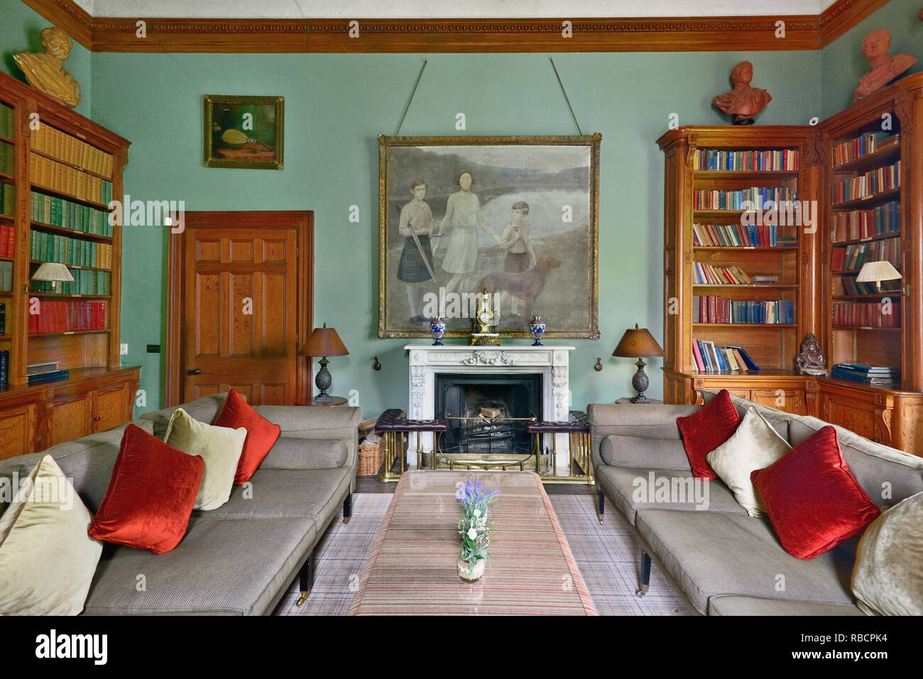 Ireland, County Monaghan,  Glaslough, Castle Leslie, The Library. - Stock Image