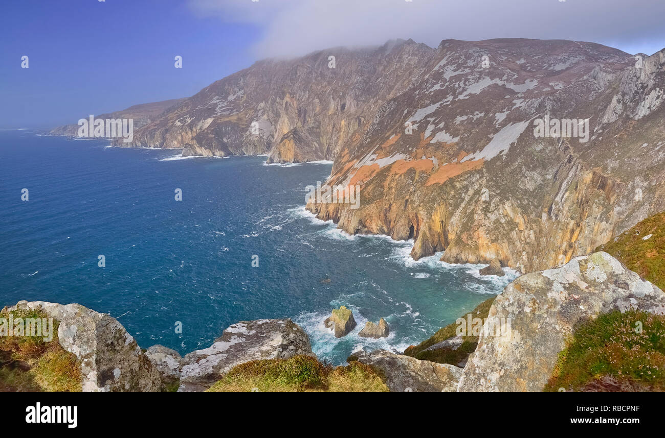 Ireland, County Donegal,  Cliffs at Slieve League. - Stock Image