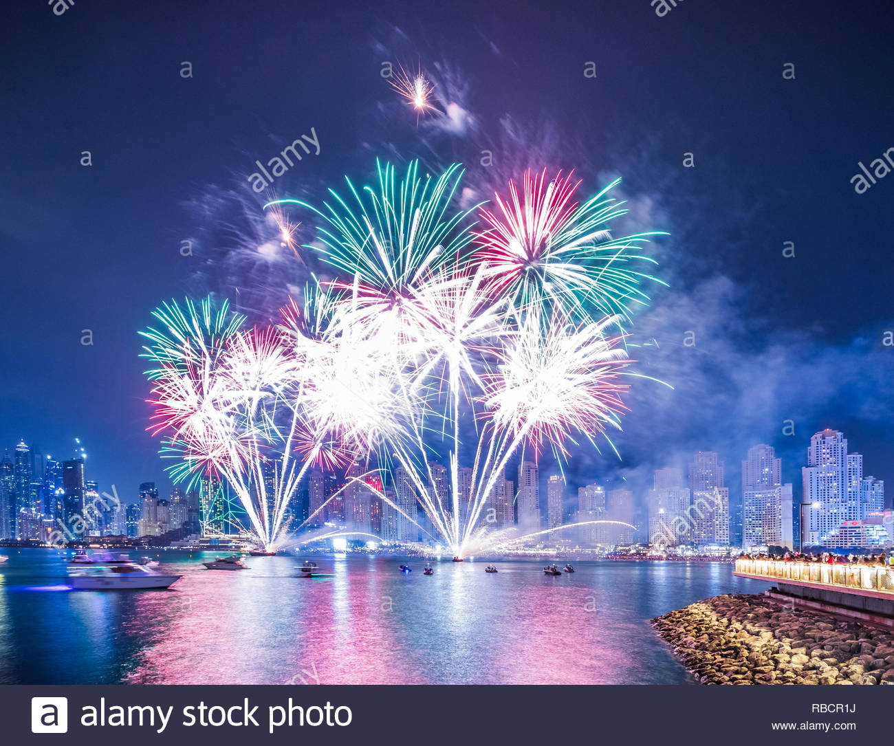 Fireworks Show at Bluewaters and the Beach Dubai during UAE National Day. Stock Photo