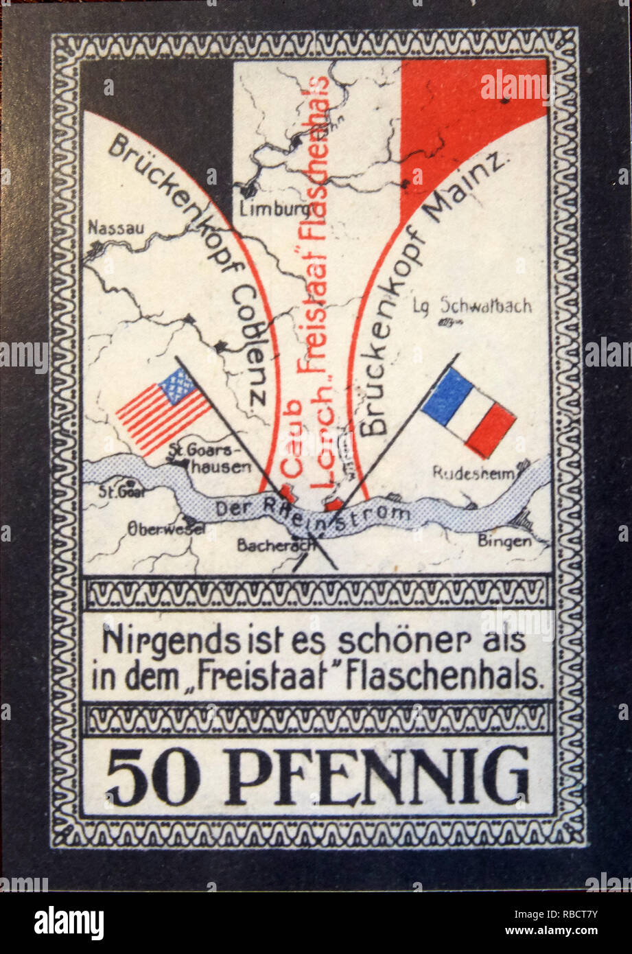 Kaub, Germany. 08th Jan, 2019. The photo shows a historical bill of the Free State of Bavaria bottleneck. After the end of the First World War, a small strip between Lorch and Kaub remained after the demarcation by a cartographic carelessness, which was administered neither by the French nor by the American occupying power. (Zu dpa 'Staircase joke of history - Free State bottleneck turns 100'). Credit: Thomas Frey/dpa/Alamy Live News - Stock Image