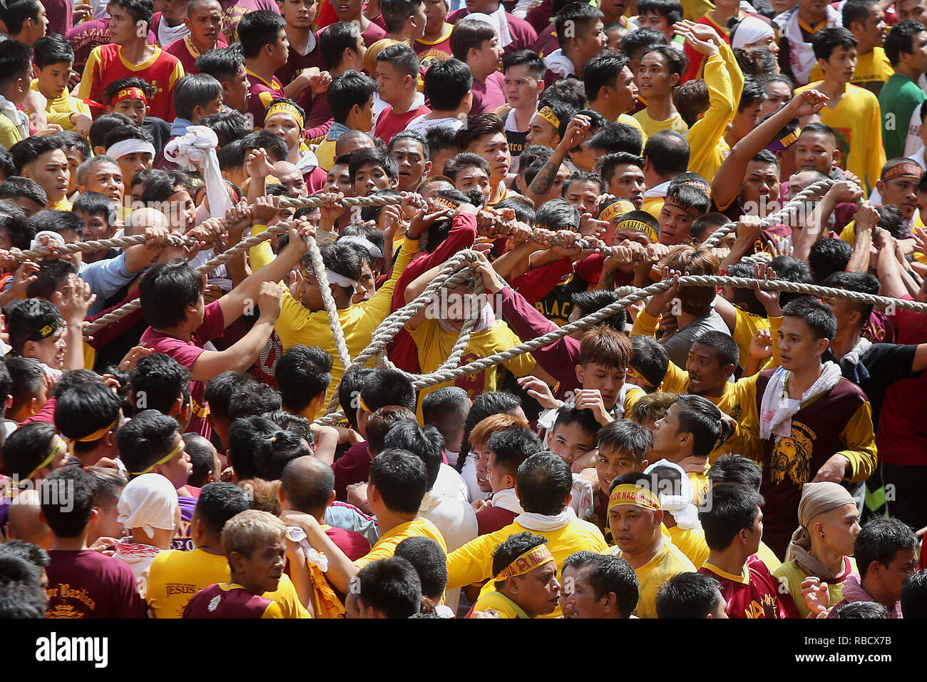 Manila, Philippines  9th Jan, 2019  Devotees pull the rope