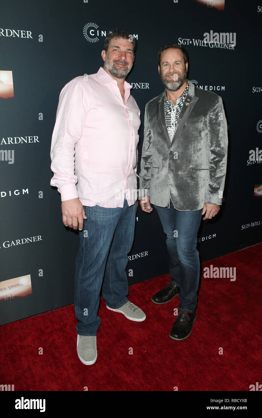Hollywood, Ca. 8th Jan, 2019. Hugh Middleton, Shawn Hamilton, at Premiere Of Cinedigm Entertainment Group's 'SGT. Will Gardner' at ArcLight Hollywood in Hollywood, California on January 8, 2019. Credit: Faye Sadou/Media Punch/Alamy Live News - Stock Image