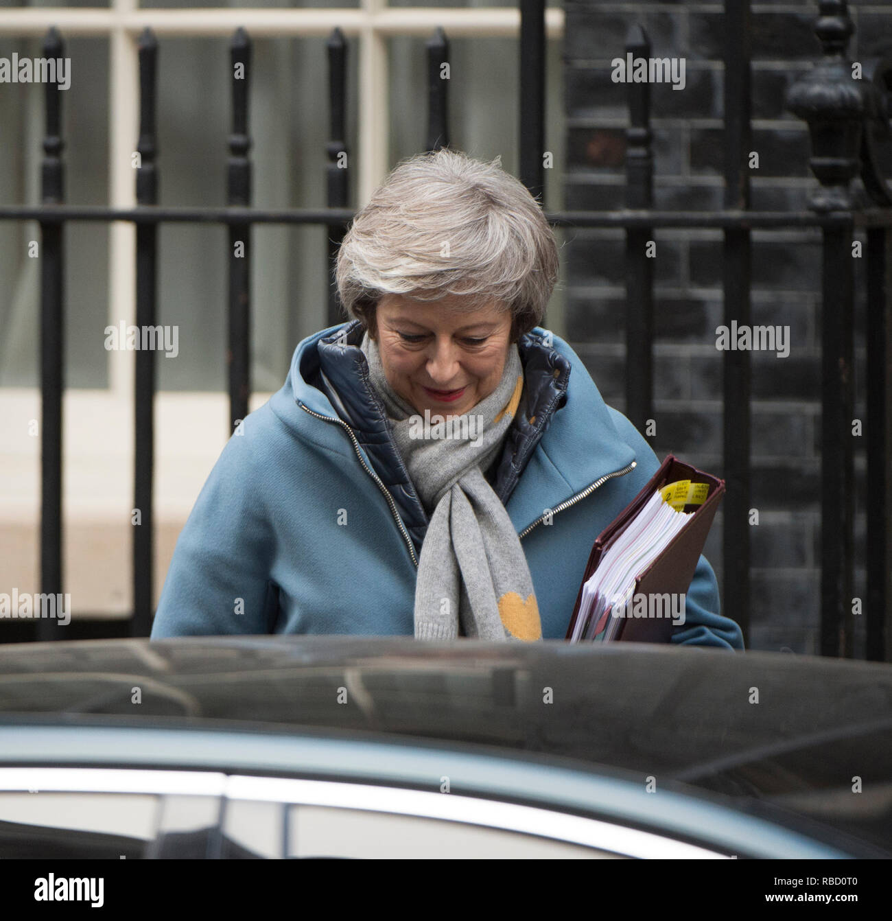 Downing Street, London, UK. 9 January 2019. Prime Minister Theresa May leaves 10 Downing Street to attend Prime Ministers Questions in Parliament, a day after Tory rebels voted for an amendment to the Finance Bill. Credit: Malcolm Park/Alamy Live News. Stock Photo