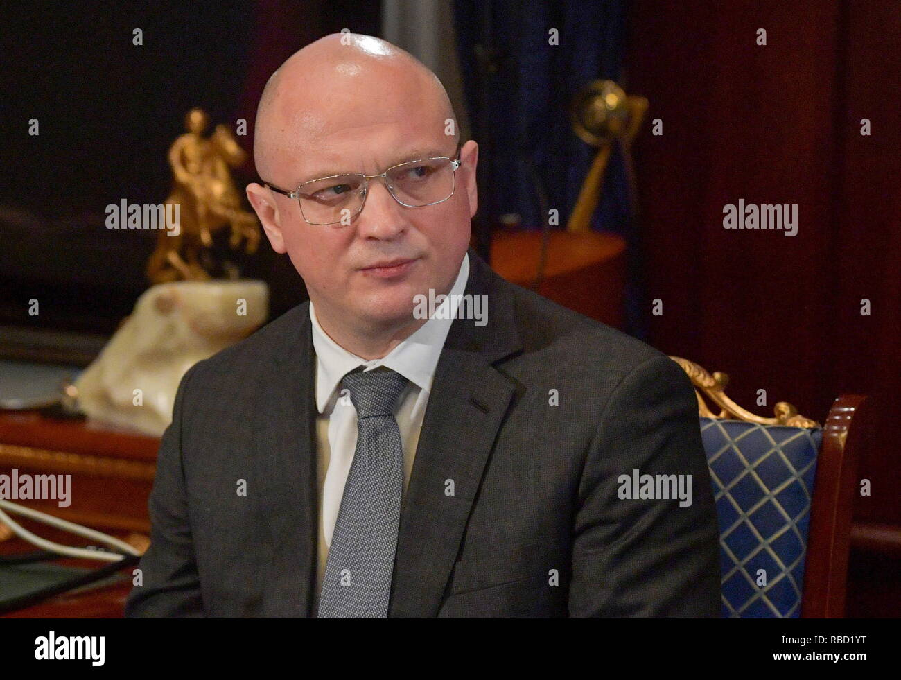 Russia. 09th Jan, 2019. MOSCOW REGION, RUSSIA - JANUARY 9, 2019: Russia's Deputy Construction, Housing and Utilities Minister Dmitry Volkov during a video conference meeting on the recovery operation after the Magnitogorsk domestic gas explosion at Gorki residence. Chelyabinsk Region Governor Boris Dubrovsky takes part in the meeting via a video link. Alexander Astafyev/Russian Government Press Office/TASS Credit: ITAR-TASS News Agency/Alamy Live News - Stock Image