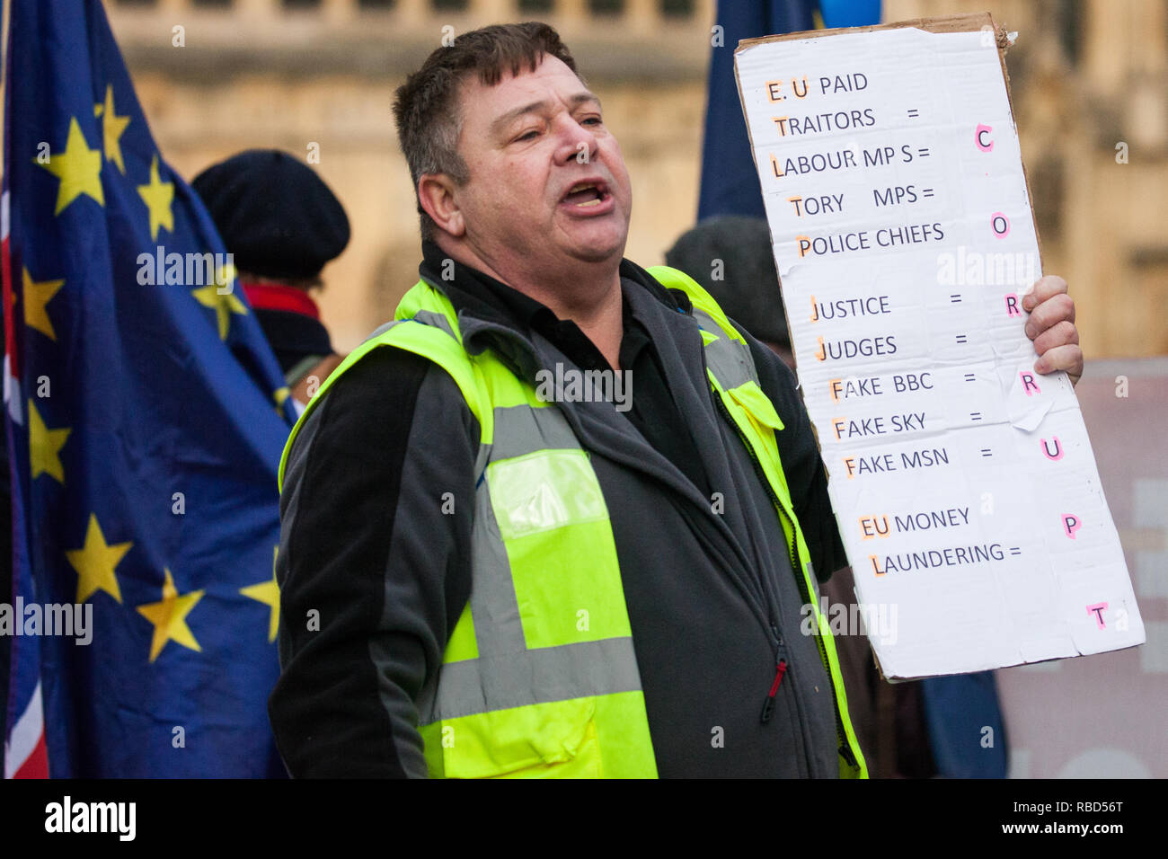 London, UK. 9th Jan, 2019. An activist from pro-Brexit group Yellow Vests UK antagonises pro-EU activists from SODEM (Stand of Defiance European Movement) during rival protests outside Parliament on the first day of the debate in the House of Commons on Prime Minister Theresa May's proposed Brexit withdrawal agreement. Credit: Mark Kerrison/Alamy Live News - Stock Image