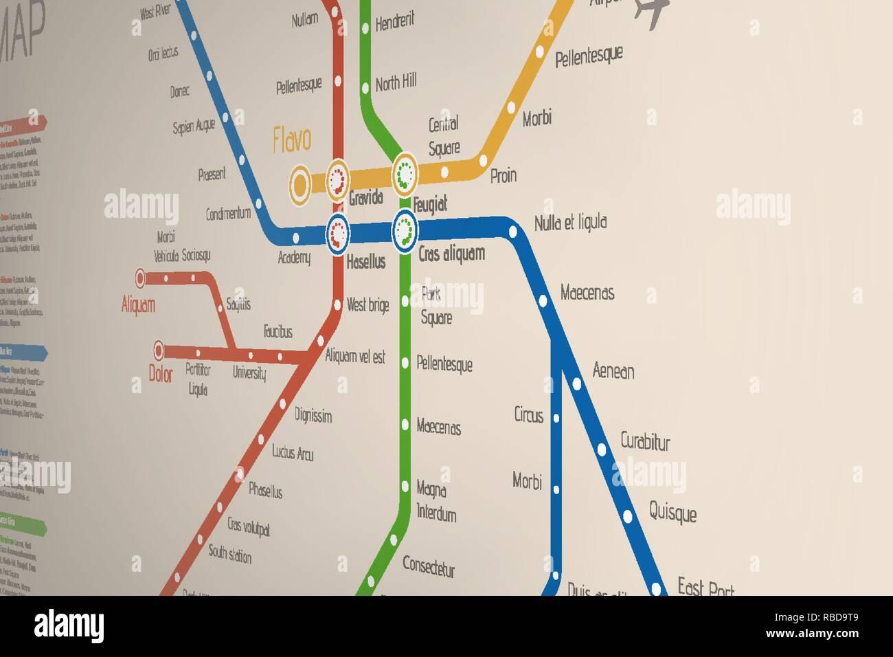 Subway Map Design.Abstract Metro Or Subway Map Design Template Stock Vector Art