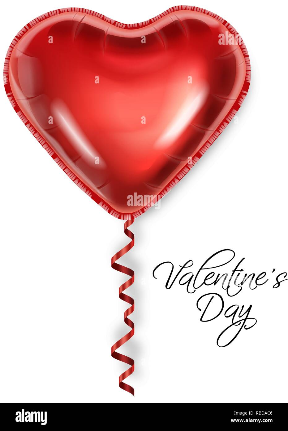 Valentines Day Card Templates | Red Balloon Heart Isolated On White Background Vector Realistic
