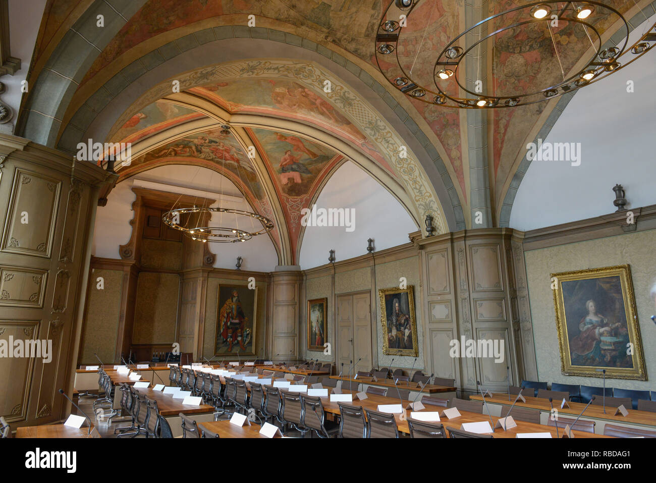 Meeting hall, city hall, Aachen, North Rhine-Westphalia, Germany, Sitzungssaal, Rathaus, Nordrhein-Westfalen, Deutschland Stock Photo