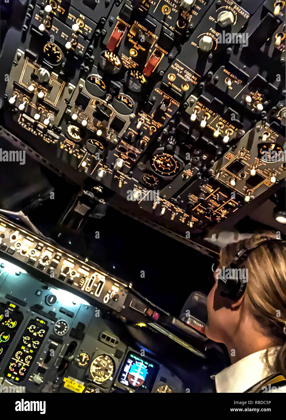 Flight deck. MEET the stunning pilot whose behind the scenes shots of her job and adventurous lifestyle have made her an Instagram star. First officer Sara Johansson (33), Borås, Sweden has amassed more than 22k followers on the social media site thanks to her incredible images. Striking shots show the beauty queen in her uniform at work in the cockpit or chilling on a plane wing while others show Sara on her days off exploring the exotic locations she gets to fly to. Sara has worked as a commercial pilot for two and a half years, flying both passengers and cargo on a Boeing 737 but is now fly Stock Photo