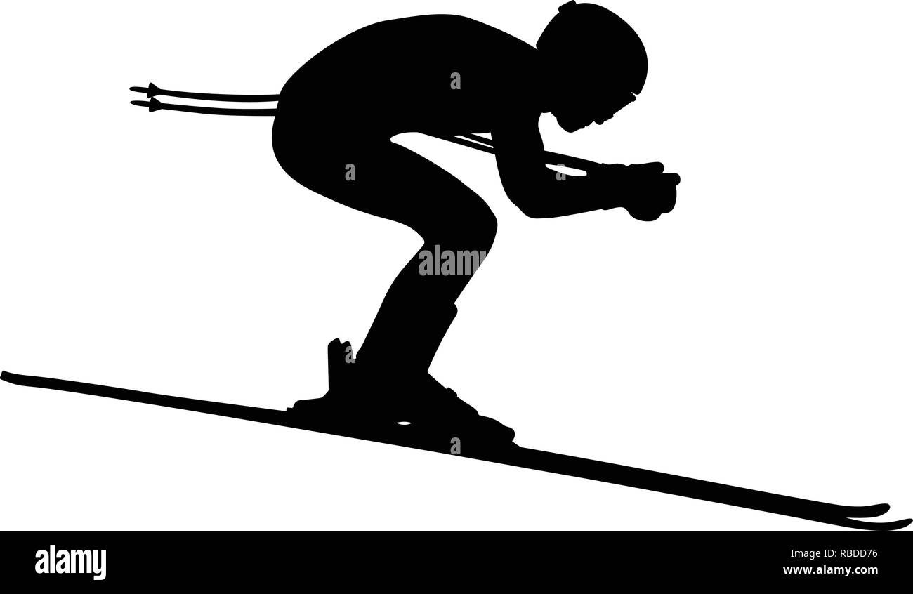 alpine skiing men downhill side view black silhouette - Stock Image