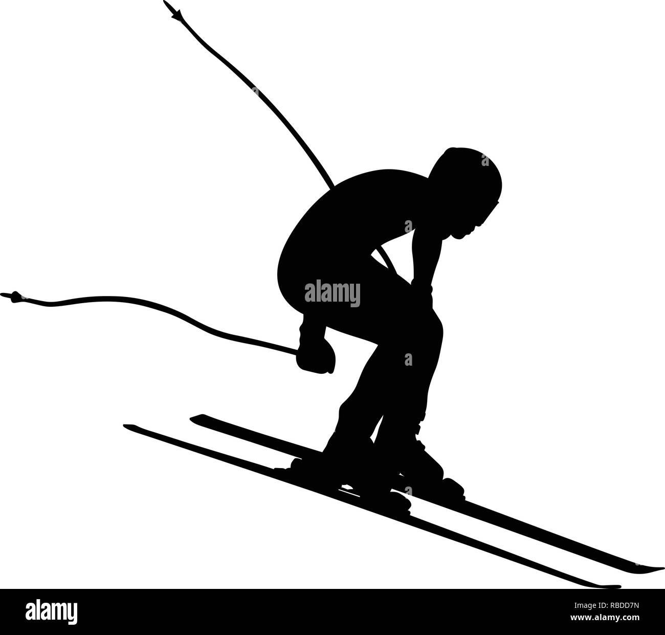 alpine skiing men downhill jump vector illustration - Stock Vector