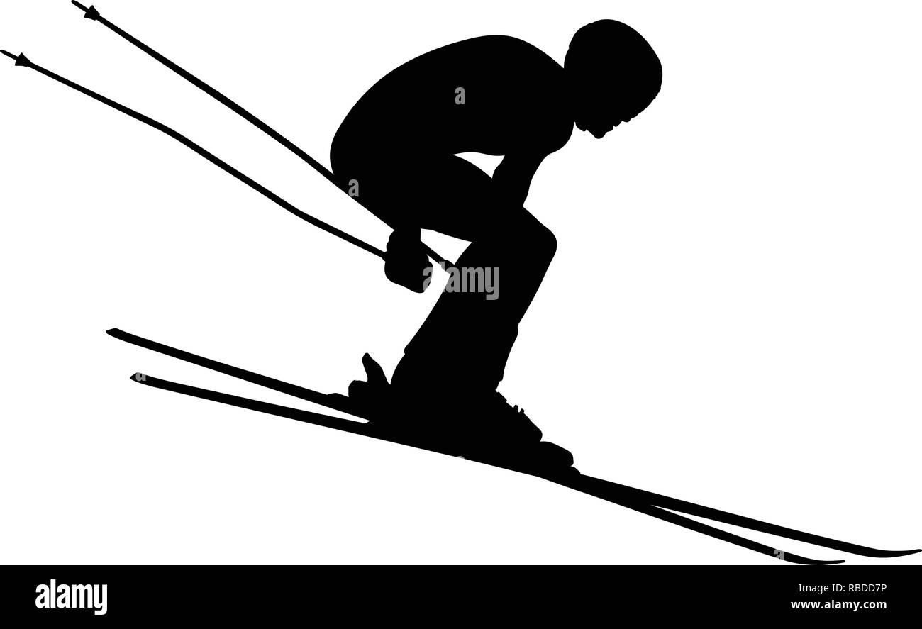 winter sport alpine skiing men athlete downhill - Stock Vector