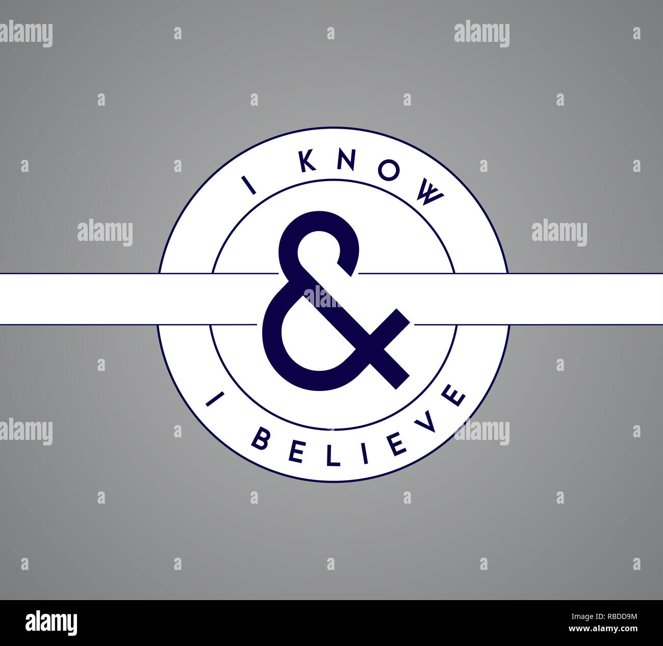 I Know, I Believe puzzle pieces union concept. infographic illustration stamp. Gray Background Stock Photo