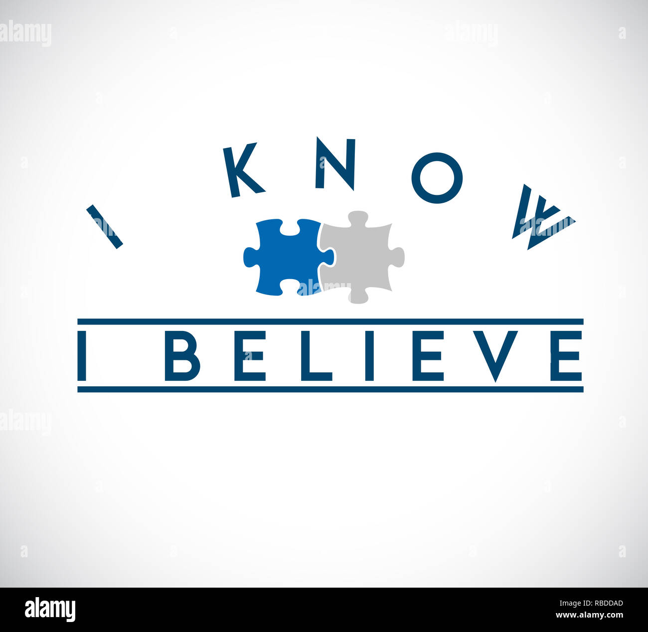 I Know, I Believe puzzle pieces union concept. infographic illustration stamp Stock Photo