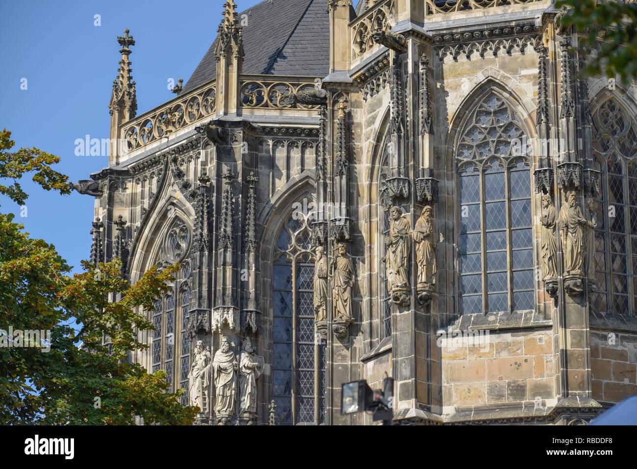 Outside sculptures, cathedral, Aachen, North Rhine-Westphalia, Germany, Aussenskulpturen, Dom, Nordrhein-Westfalen, Deutschland Stock Photo