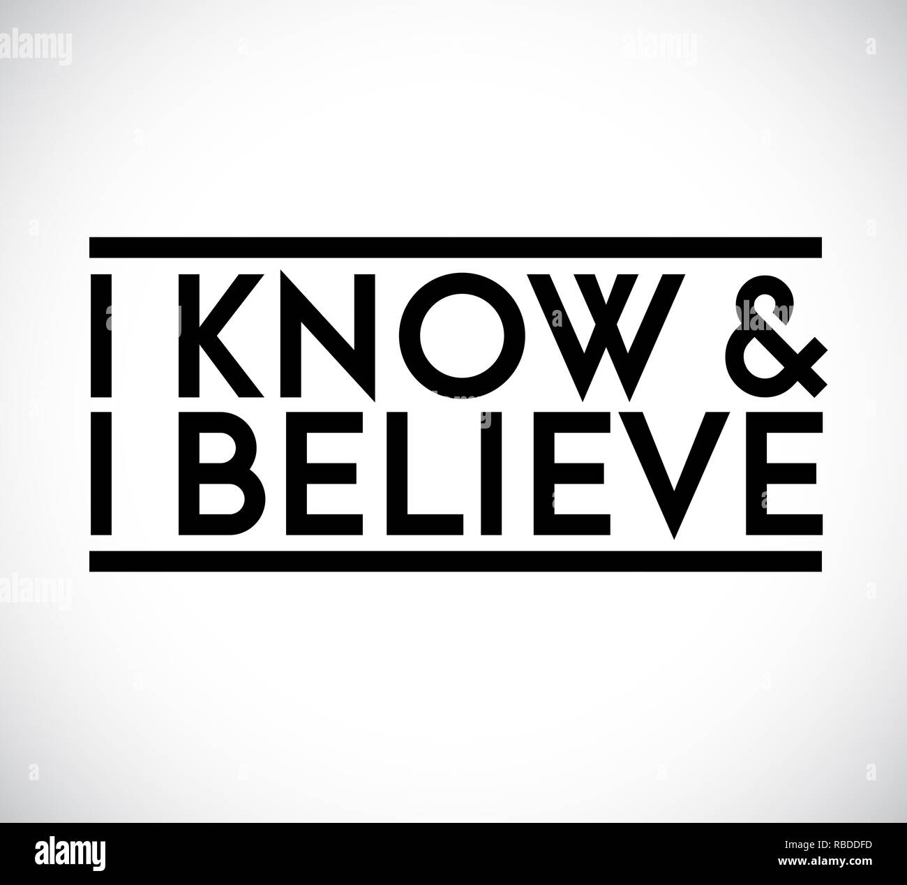I Know, I Believe union text stamp concept. infographic illustration. Gray Background Stock Photo