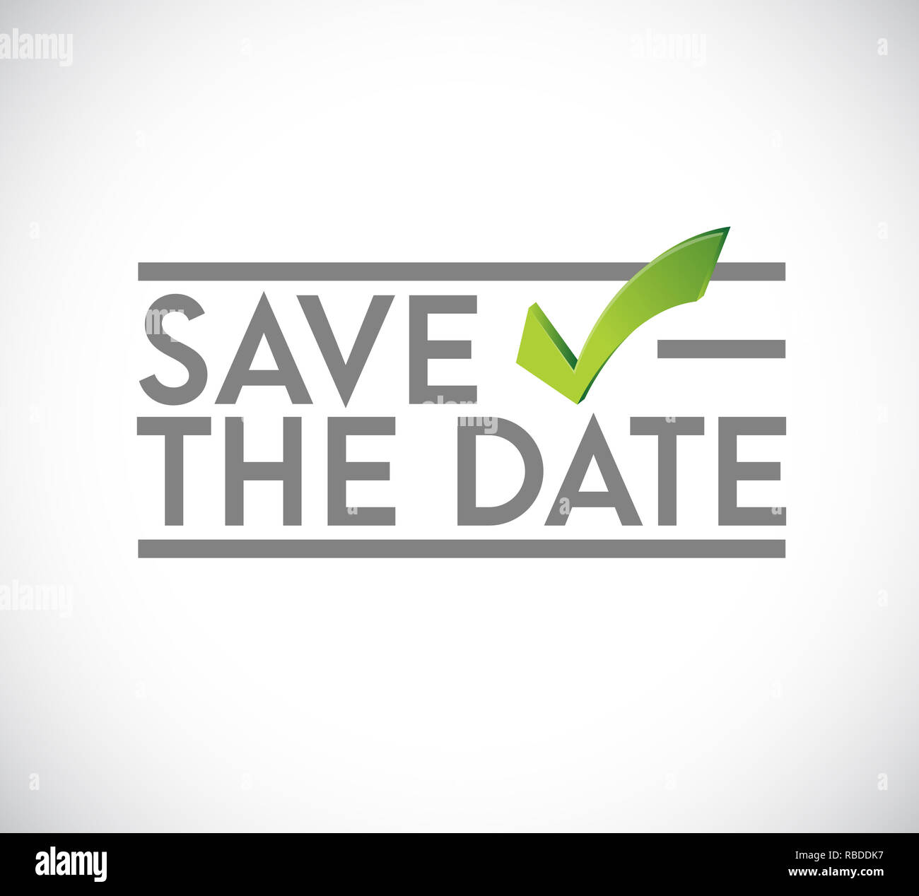 Save the date stamp check mark concept. infographic illustration. white Background Stock Photo