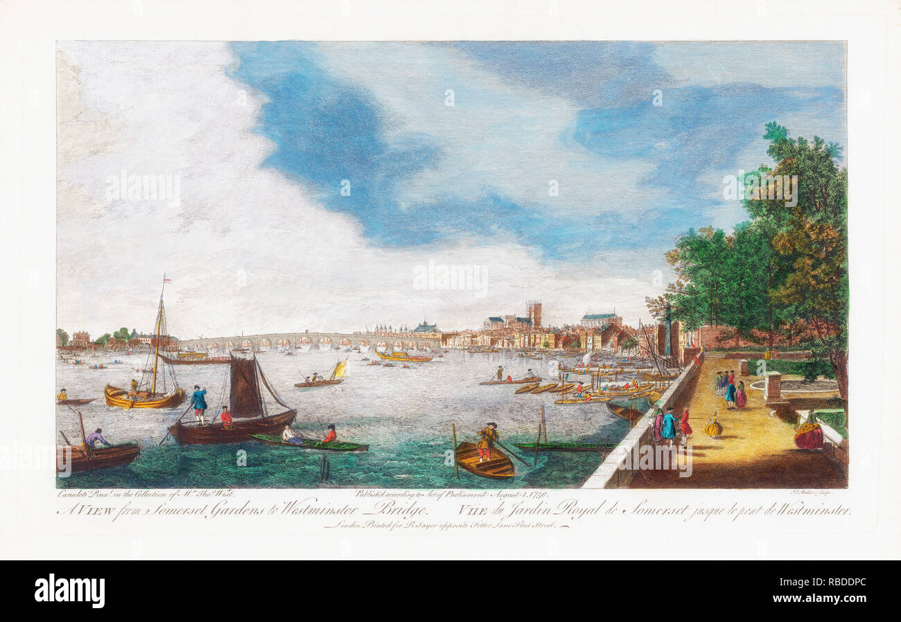 London, England.   A View From Somerset Gardens to Westminster Bridge.  After an engraving dated 1750 by John Miller, after a painting by Canaletto. - Stock Image