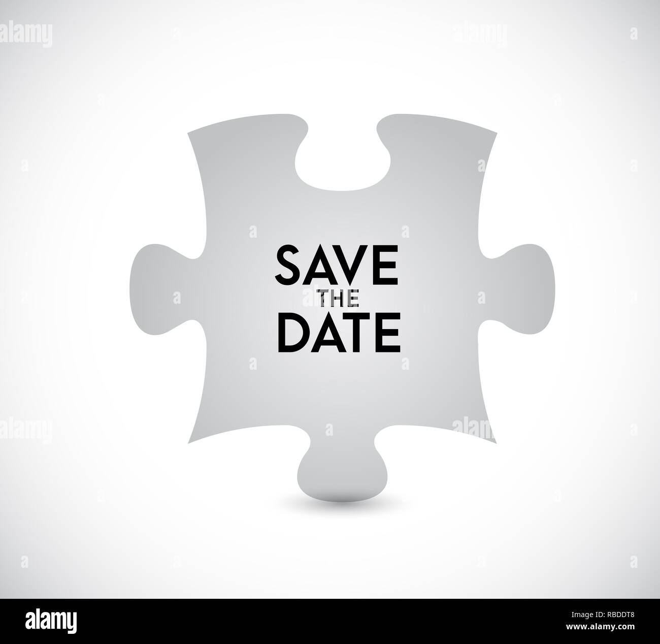 Save the date puzzle missing piece concept. infographic illustration. White Background Stock Photo