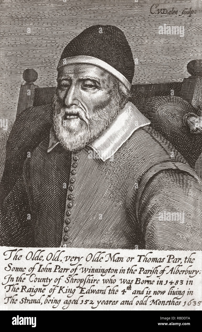 Thomas Parr, born in Shropshire, England, reputedly in 1483 and known to have died in 1635.  If so, he would have been 152 years old.  Also known as Old Tom Parr and Old Parr.  After a 17th century print by Cornelis van Dalen. - Stock Image