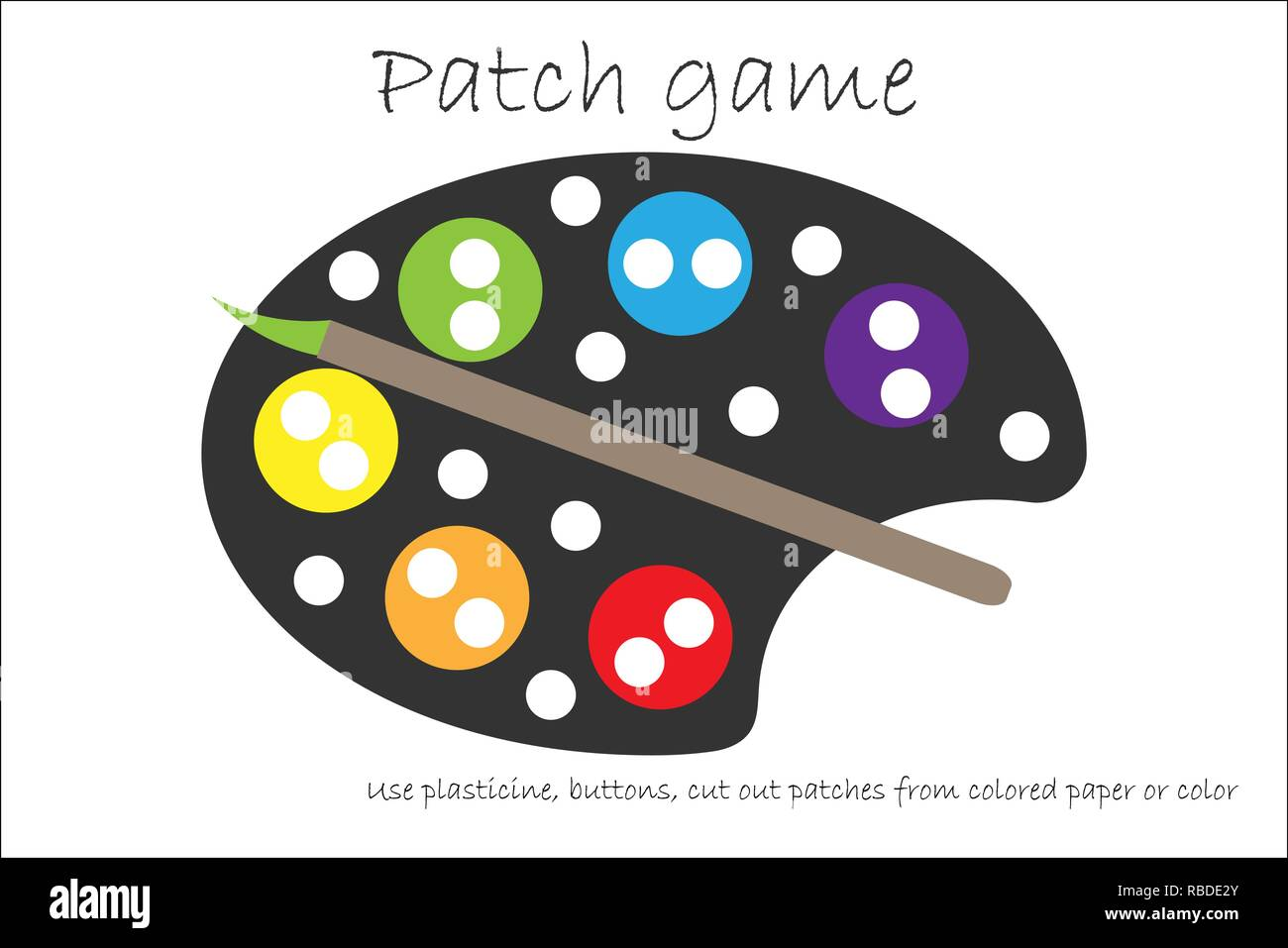 graphic relating to Colored Paper Printable named Instruction Patch match palette for little ones in direction of establish engine