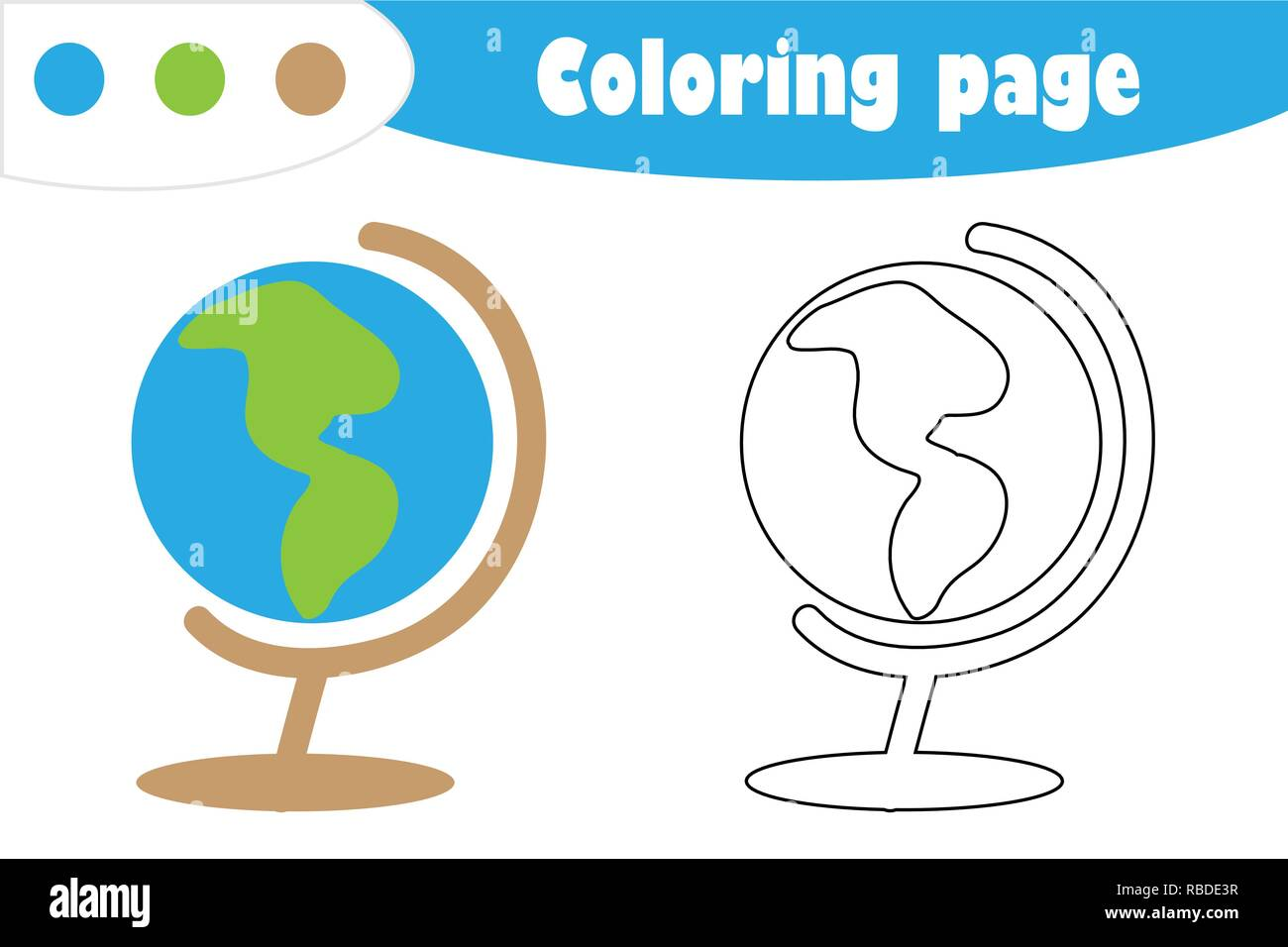 photo about Printable Globe named Environment inside of cartoon design and style, coloring web page, instruction paper match