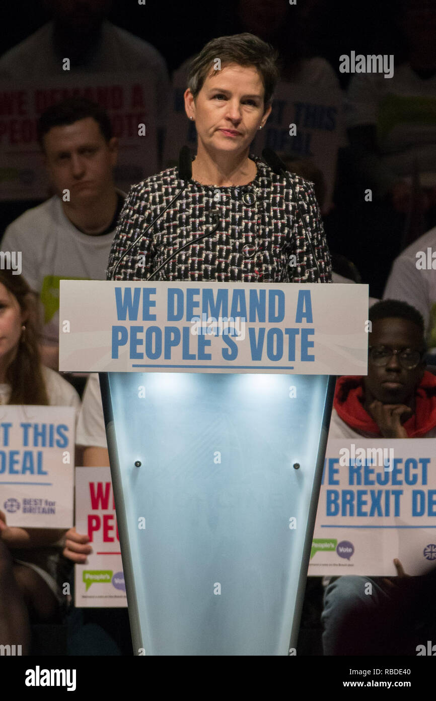 Best for Britain and the People's Vote campaign hold a major joint political rally on the eve of the week in which Parliament votes on the Brexit deal at the ExCel Centre in East London  Featuring: Mary Creagh MP Where: London, United Kingdom When: 09 Dec 2018 Credit: Wheatley/WENN - Stock Image