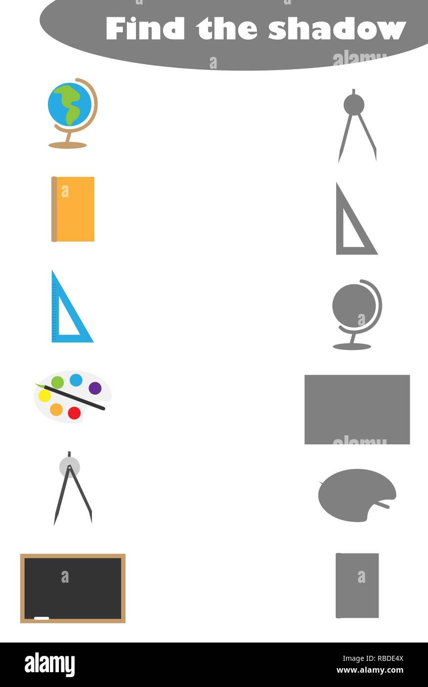 Find the shadow game with school pictures for children, education game for kids, preschool worksheet activity, task for the development of logical thinking, vector illustration - Stock Image