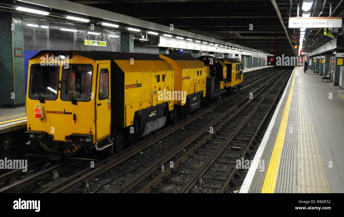 Schweerbau Rail Grinder at Moorgate Station, London, UK. - Stock Image