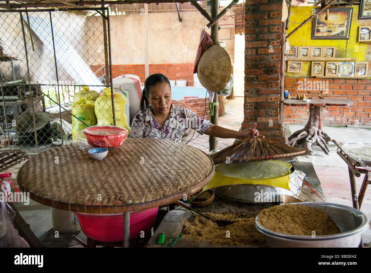Handmade Rice Paper Wrappers in Vietnam - Stock Image
