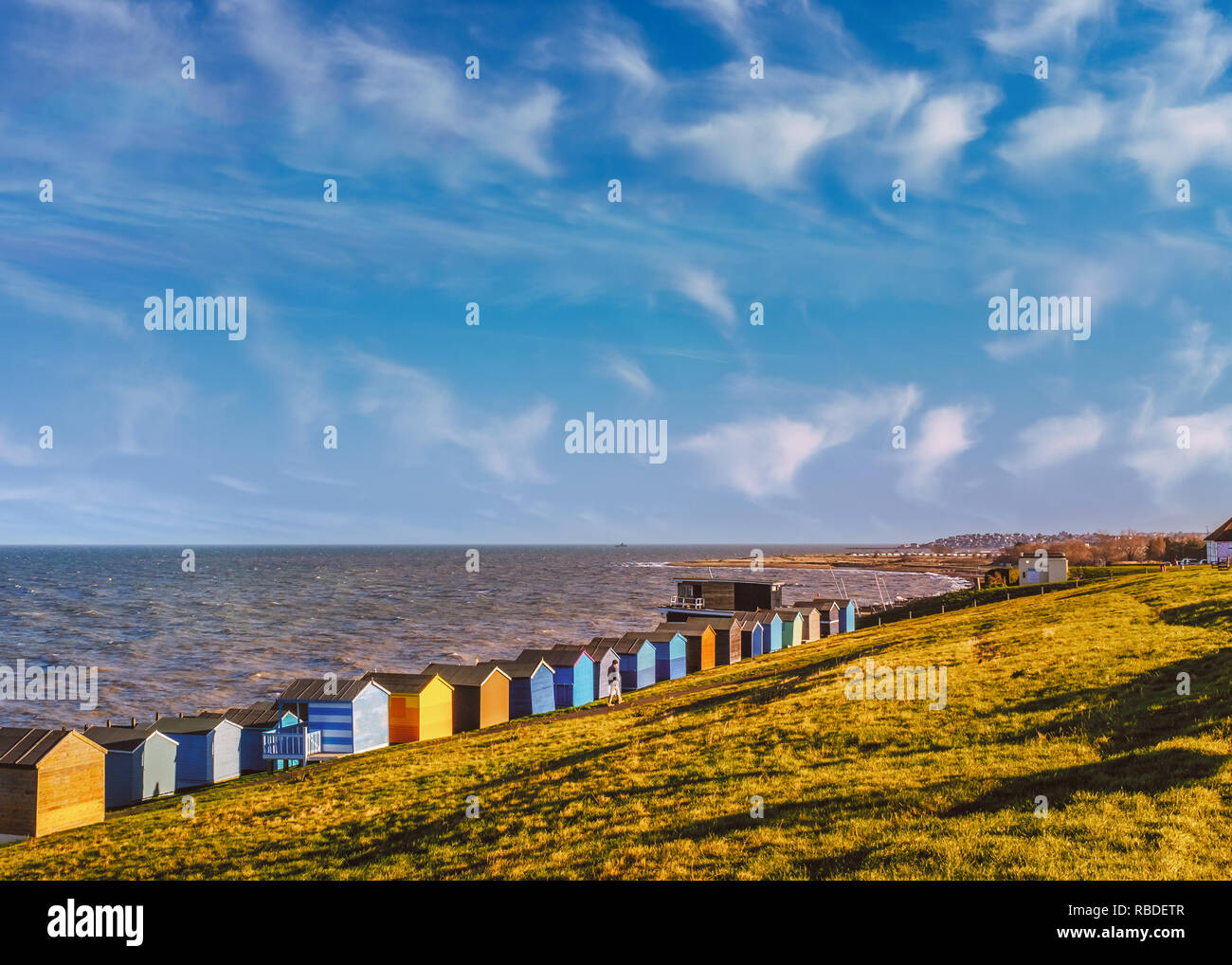 Row of beach huts along the coast in Tankerton, Whitstable, Kent. The green grass slopes are behind the huts and a man strolling along the grass. The  Stock Photo