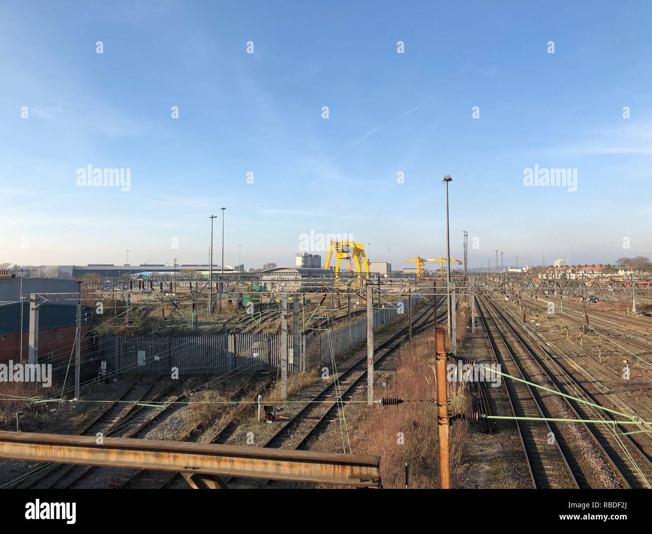Cranes and Skyline at Willesden Junction/Rail Depot - Stock Image