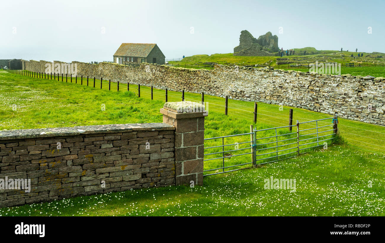 Jarlshof prehistoric and Norse settlement archaeological site in Shetland, Scotland, United Kingdom, Europe. - Stock Image