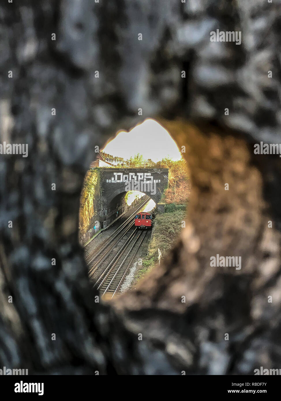 Eye Spy -  A London Underground tock train on the Bakerloo Line northbound at Harlesden. - Stock Image