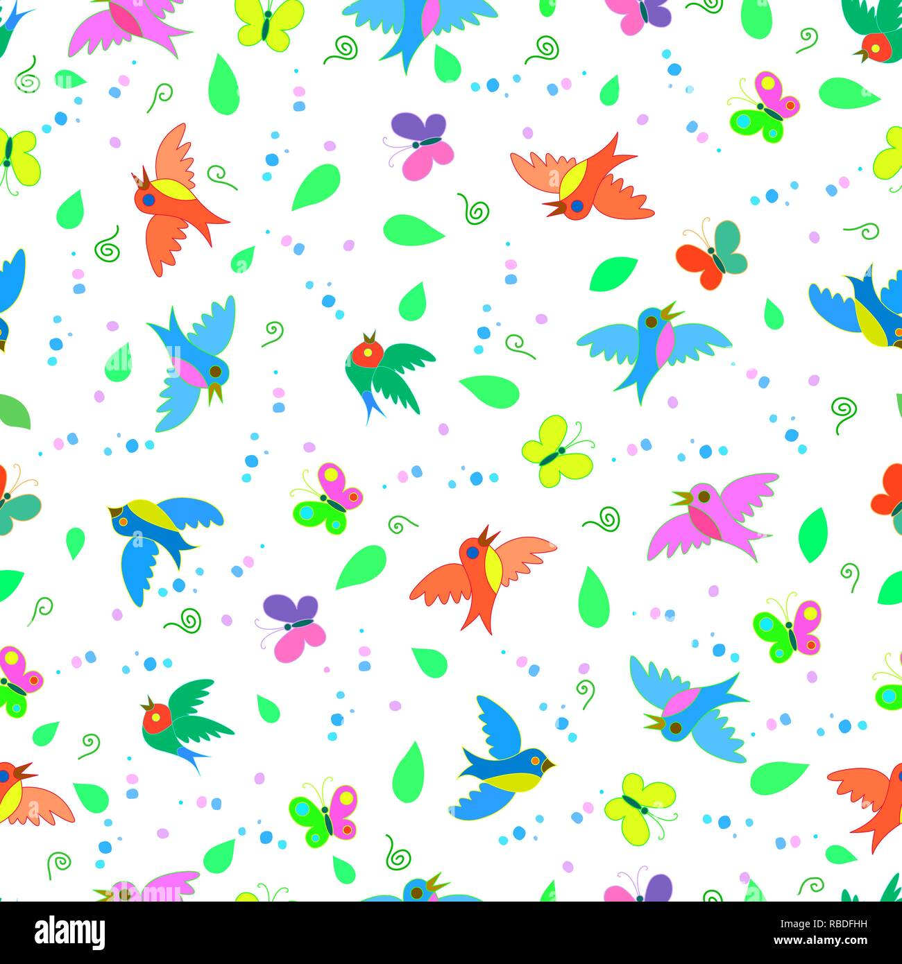 Colorful cute funny cartoon birds and butterflies seamless summer pattern Stock Vector