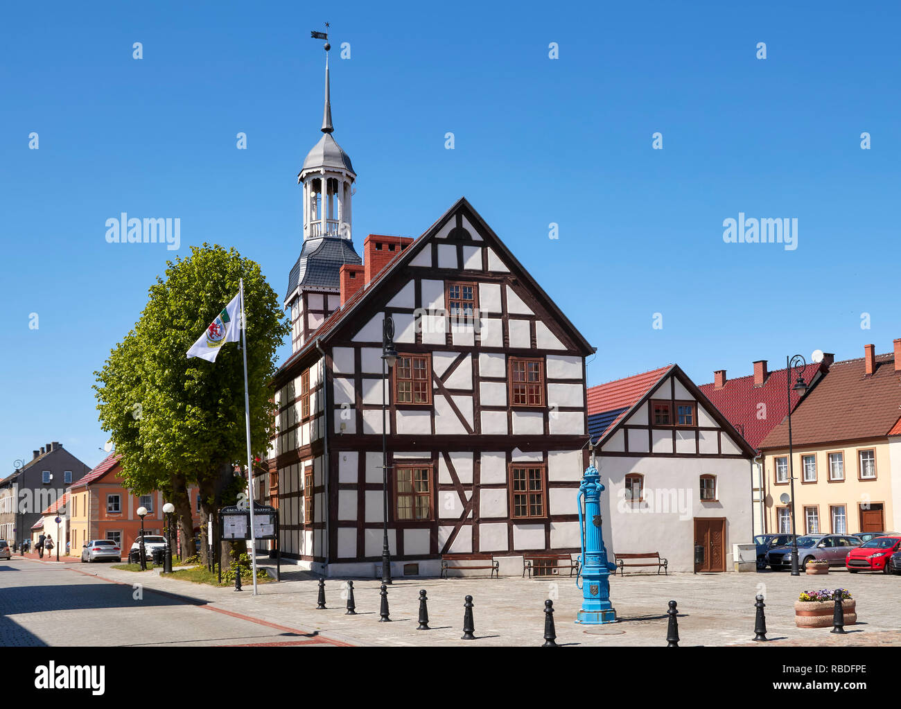 Town Hall in Nowe Warpno on a sunny day, Poland. Stock Photo