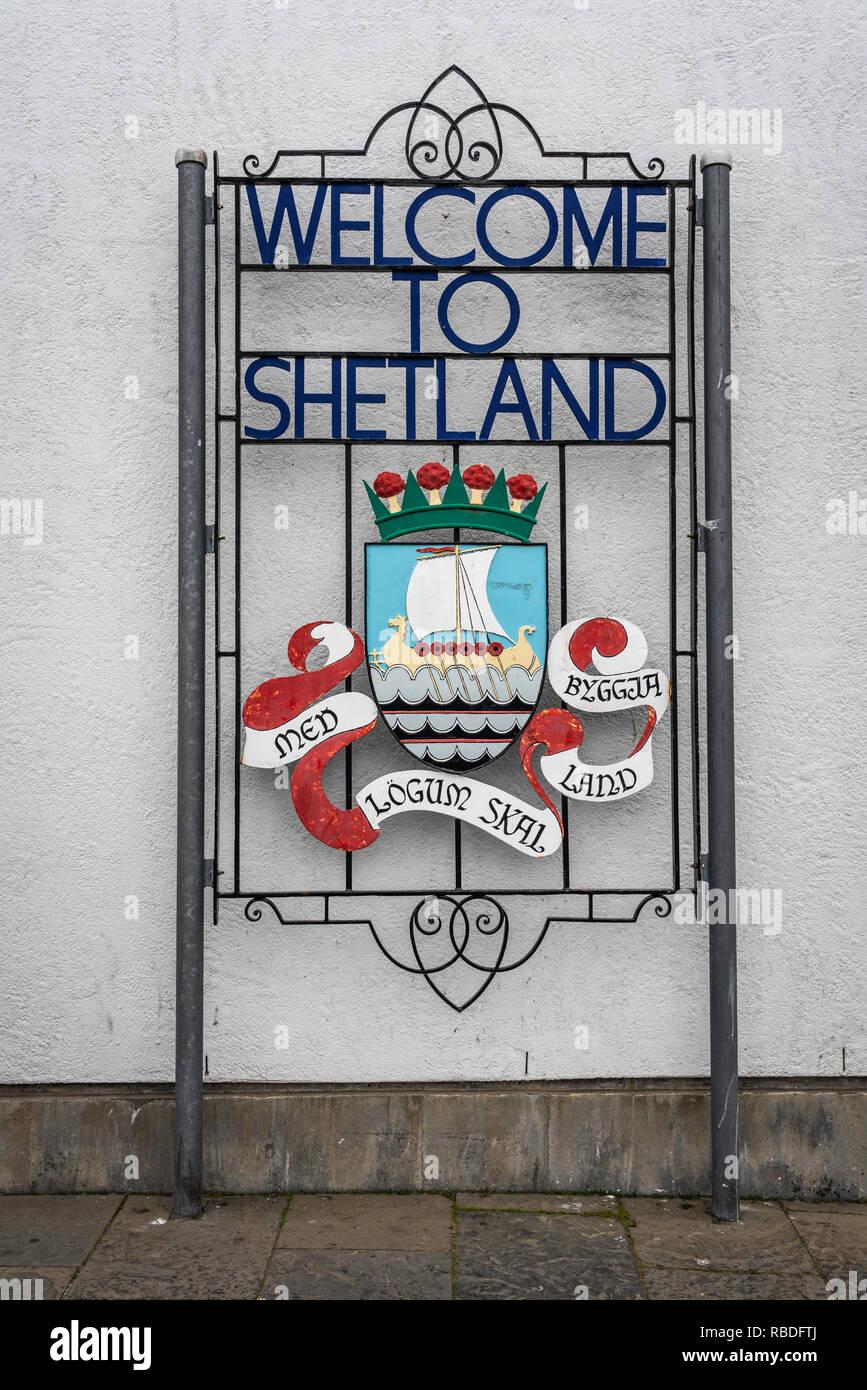 A Welcome to Shetland sign at Lerwick, Shetland, Scotland, United Kingdom, Europe. - Stock Image