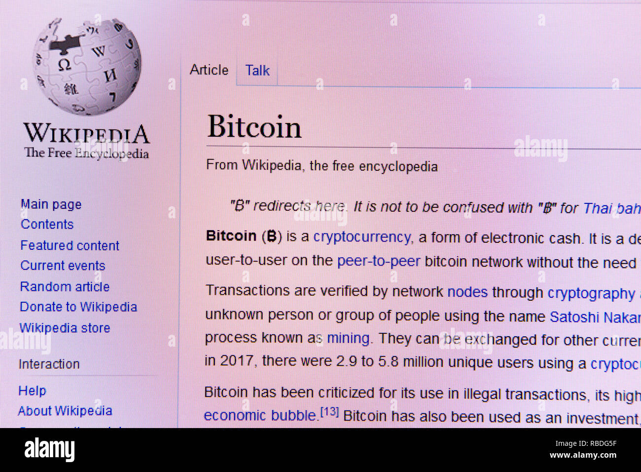Wikipedia website article for the BitCoin cryptocurrency - Stock Image