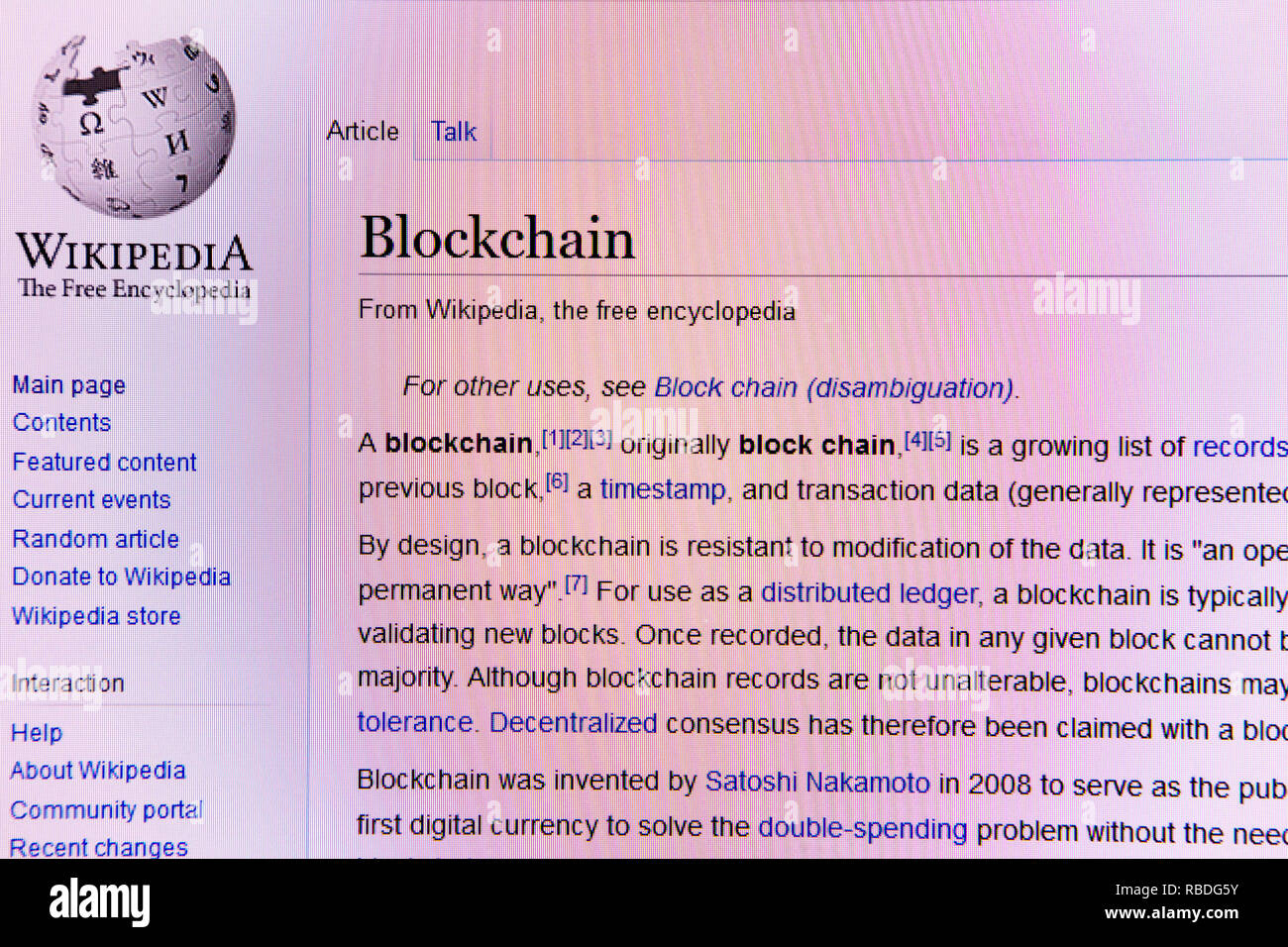 Wikipedia website article for BlockChain distributed ledger technology - Stock Image