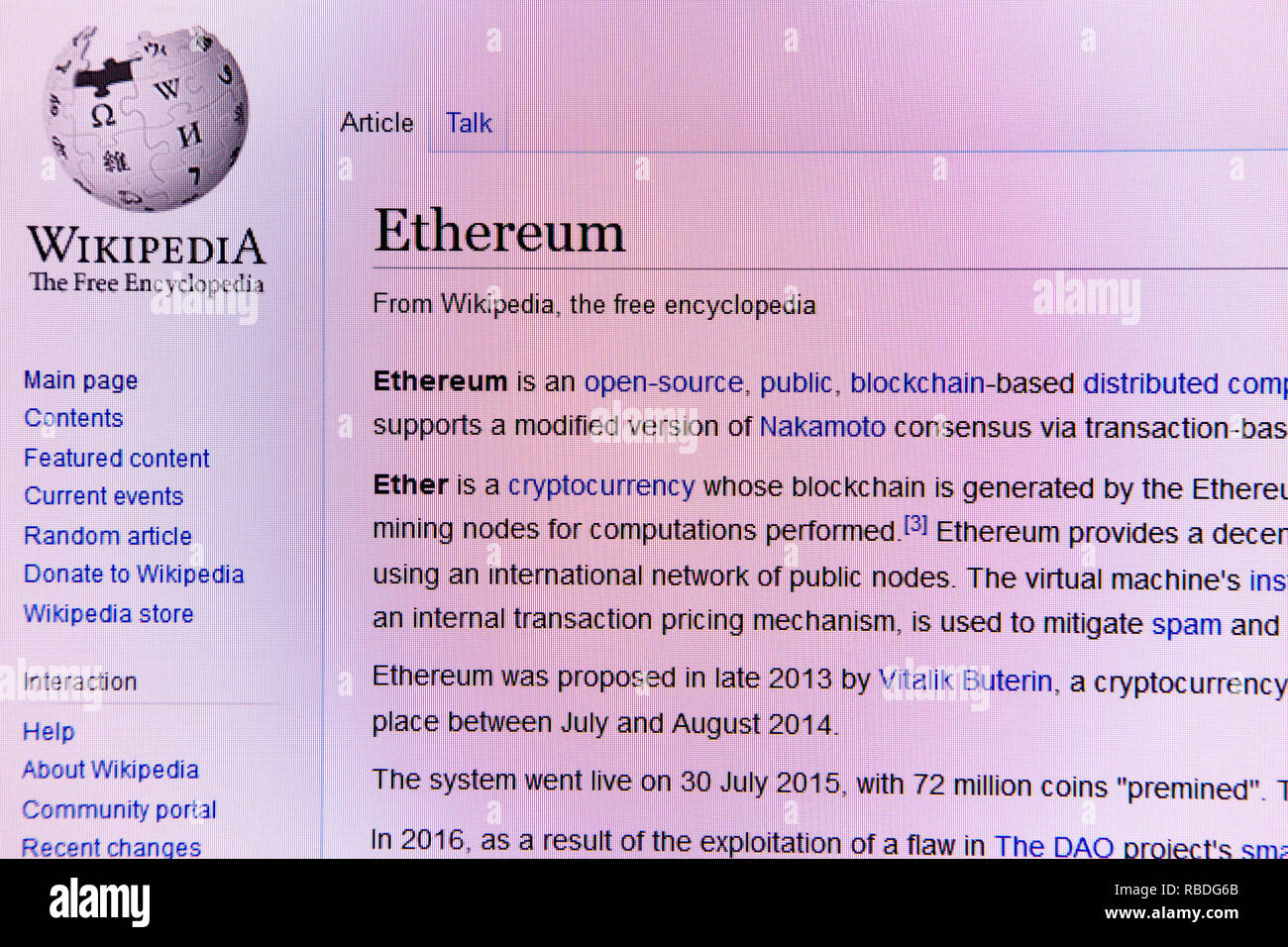 Wikipedia website article for the Ethereum cryptocurrency - Stock Image