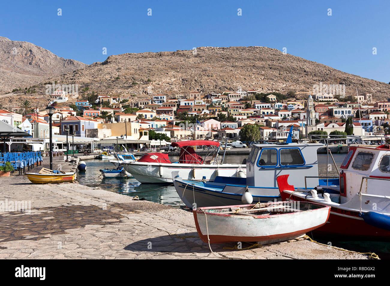 Halki, Emporio village harbour, Aegean sea, Dodecanese Islands, Greece - Stock Image