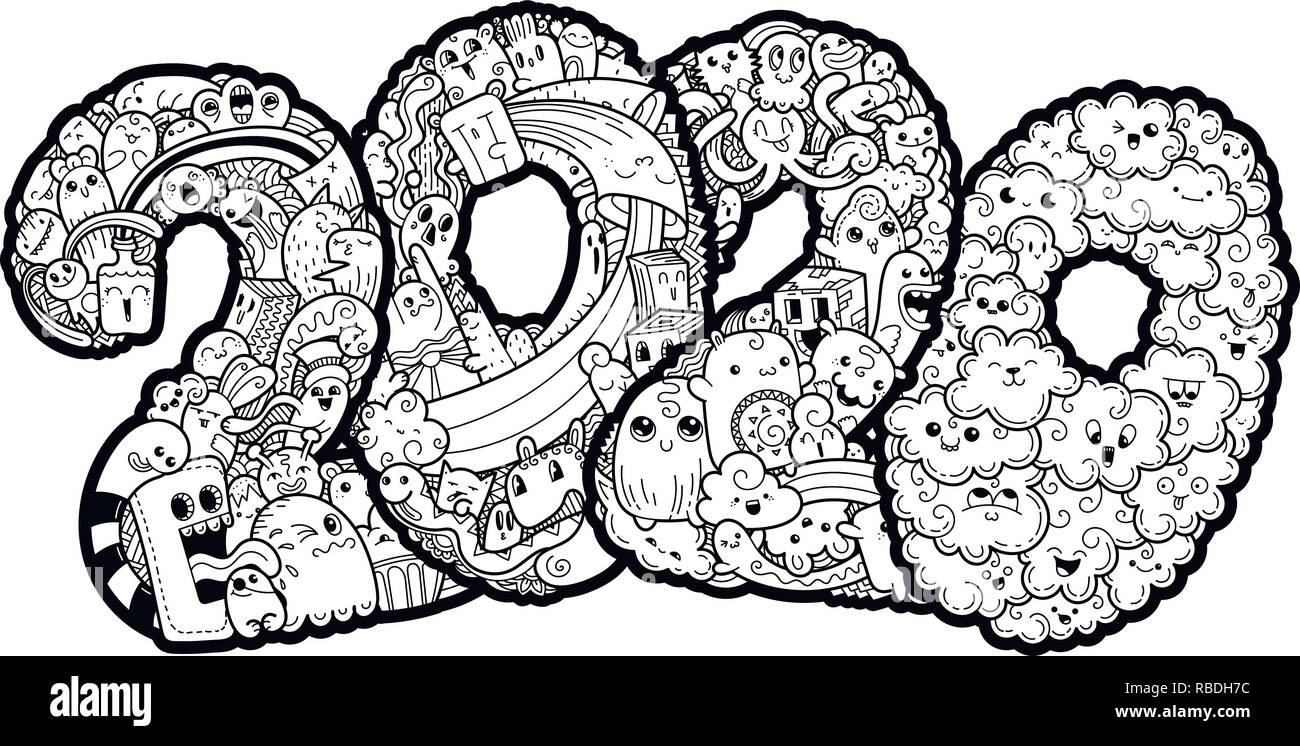 New Year 2020. Monster Doodle Date. Ornate Holiday Symbol